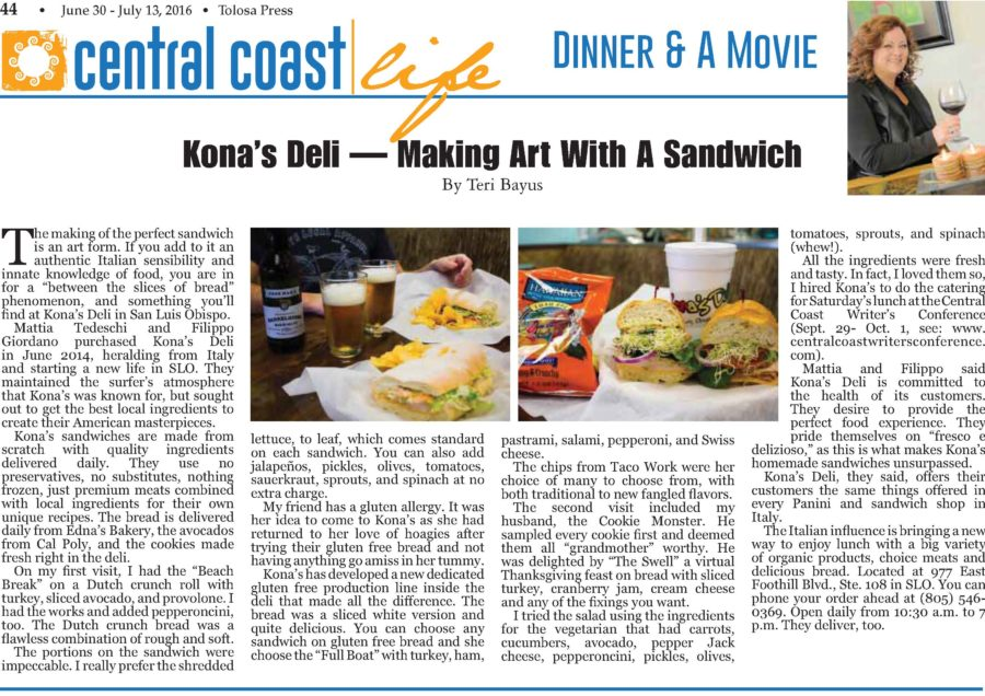 Kona's Deli on Tolosa Press!!